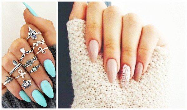 αμυγδαλωτά νύχια με nude και γαλάζια απόχρωση - Oh My Beauty
